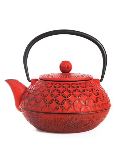 Taşev Linden - Yonca 800 ml Kırmızı Döküm Çaydanlık-Bambum